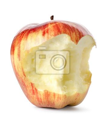 Gegessen roten Apfel isoliert