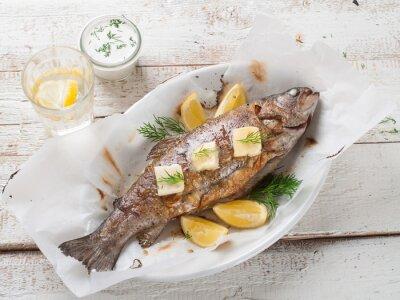 Sticker Gegrillter Fisch