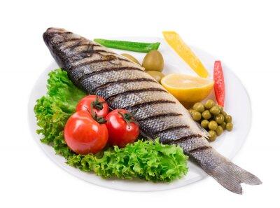 Sticker Gegrillter Fisch mit Gemüse.