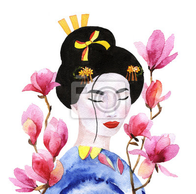 Geisha in den Blumen der Magnolie. Aquarell Illustration einer japanischen Frau auf einem Hintergrund von rosa Blüten