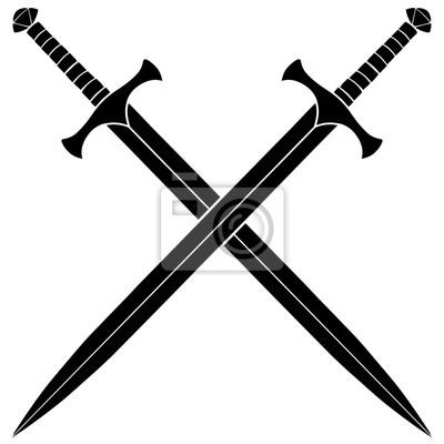Sticker Gekreuzte Schwerter Silhouette