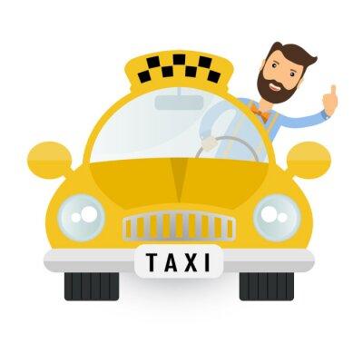 Sticker gelbe Taxi Auto - Vektor-Icon-