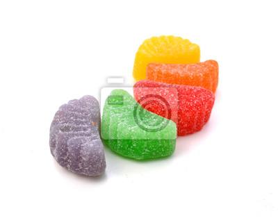 Geleezuckersüßigkeiten lokalisiert auf weißem Hintergrund