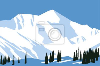 Gemalte Schneeberge. Vektorzeichnung