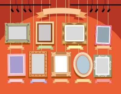 Gemalte verschiedene Rahmen auf einer orange Wand. Vektorzeichnung