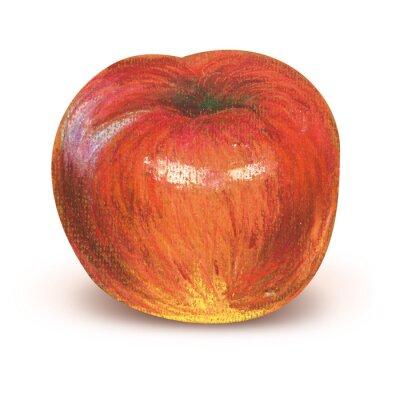 Sticker Gemalter roter Apfel mit Ausschnittspfad