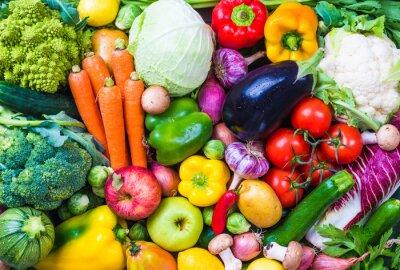 Sticker Gemüse und Obst Hintergrund.