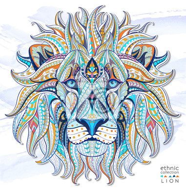 Sticker Gemusterten Kopf des Löwen auf dem Grunge-Hintergrund. Afrikanisch / indisch / Totem / Tätowierungentwurf. Es kann für die Gestaltung eines T-Shirt, Tasche, Postkarte, ein Poster und so weiter verwend