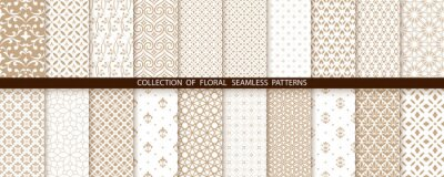 Sticker Geometric floral set of seamless patterns. Gold and white vector backgrounds. Simple illustrations