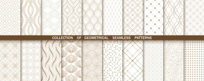Sticker Geometric set of seamless gold and white patterns. Simple vector graphics
