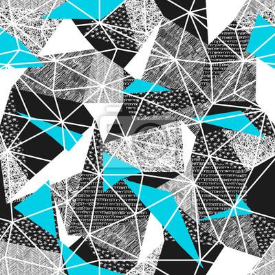 Geometrische nahtlose Muster im Retro-Stil. Vintage background.Triangles und Hand gezeichneten Muster. Niedriges Poly nahtloses Wiederholungsmuster Dreieckige Facetten. Vektor-Muster. Cyan-Dreiecke