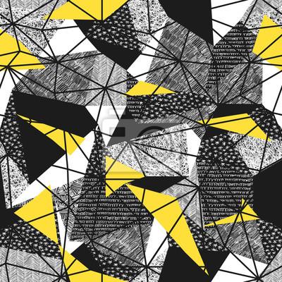 Geometrische nahtlose Muster im Retro-Stil. Vintage background.Triangles und Hand gezeichneten Muster. Niedriges Poly nahtloses Wiederholungsmuster Dreieckige Facetten. Vektor-Muster. Gelbe Dreiecke