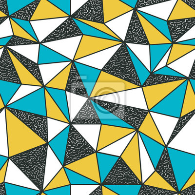 Geometrische nahtlose Muster im Retro-Stil. Vintage Hintergrund. Niedriges Poly nahtloses Wiederholungsmuster Dreieckige Facetten. Vektor-Muster.