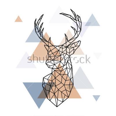 Sticker Geometrischer Kopf des skandinavischen Hirsches. Polygonaler Stil. Skandinavischer Stil.