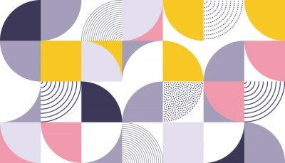 Sticker Geometrischer Mustervektorhintergrund mit skandinavischer abstrakter Farbe oder Schweizer Geometriedrucken von Rechtecken, Quadraten und Kreisen formen Design