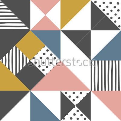 Sticker Geometrisches Muster. Abstrakter Dreieckhintergrund mit Hand gezeichneter Streifen und Tupfen Vector Illustration.