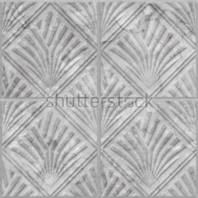 Sticker Geometrisches Muster auf nahtloser Beschaffenheit der keramischen und Marmorfliese, Illustration 3d