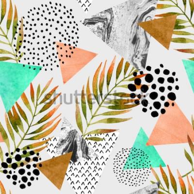 Sticker Geometrisches nahtloses Muster des abstrakten Sommers. Dreiecke mit Palmblatt- und Marmorschmutzbeschaffenheiten. Abstrakter geometrischer Hintergrund in der Retro- Pop-Art der Weinlese 80s 90s. Hand