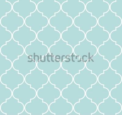Sticker Geometrisches nahtloses Muster Quatrefoil, Hintergrund, Vektorillustration im tadellosen Blau, in der weichen Türkisfarbe und im Weiß.