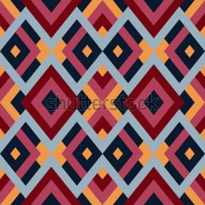 Sticker Geometrisches nahtloses Vektormuster mit Dreiecken und Quadraten. Endloser abstrakter Hintergrund für Design in den roten, blauen und gelben Farben