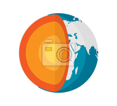 Sticker Geophysics concept with earth core and section layers earth, vector illustration in flat style