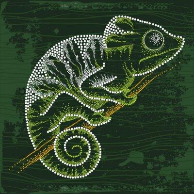 Sticker Gepunktete Chameleon sitzt auf dem Zweig