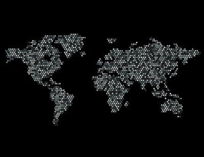 Sticker Gepunkteten Weltkarte Kontinente Zufalls Grau