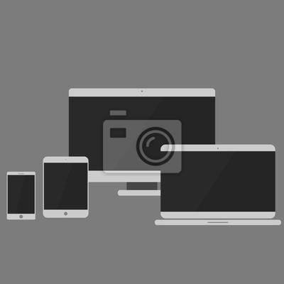 Geräte-Icons: Smartphone, Tablet, Laptop und Desktop-Computer. Flaches Design