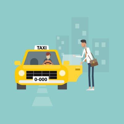 Sticker Geschäftsmann, der Taxi, Geschäfte in Stadt arbeiten
