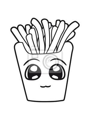 Gesicht Suss Niedlich Klein Komisch Cartoon Clipart Pommes Frites