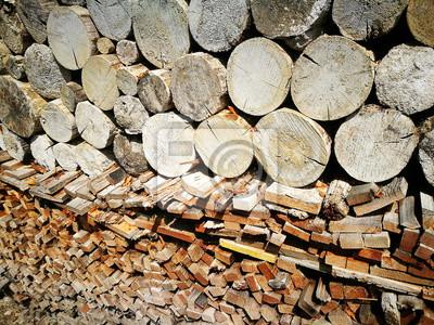 Sticker Gestapeltes Holz Für Ofen Und Kamin Im Winter Auf Einem Bauernhof  In Rudersau Bei Rottenbuch