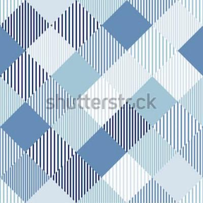 Sticker Gestreiftes geometrisches nahtloses Muster des blauen und weißen abstrakten einfachen Kontrolleurs, Vektor