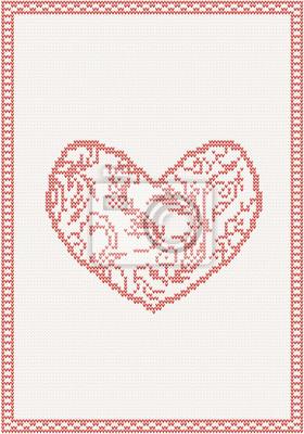 Gestrickte Hintergrund mit roten Herzen