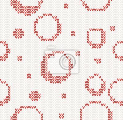 gestrickte nahtlose Weihnachten-Muster mit roten Kreisen