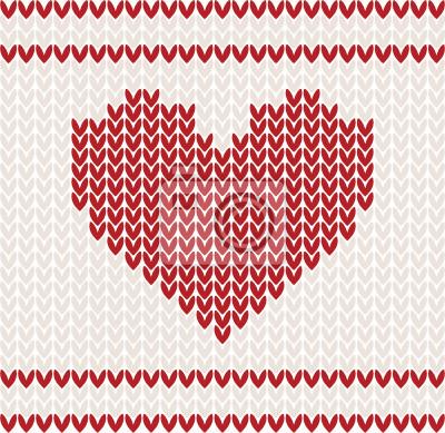 Gestrickte Vektor-Muster mit roten Herzen