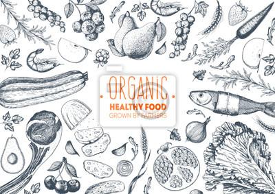 Sticker Gesunde Lebensmittel Rahmen Vektor-Illustration. Gemüse, Früchte, Fleisch gezeichnet. Bio-Lebensmittel-Set