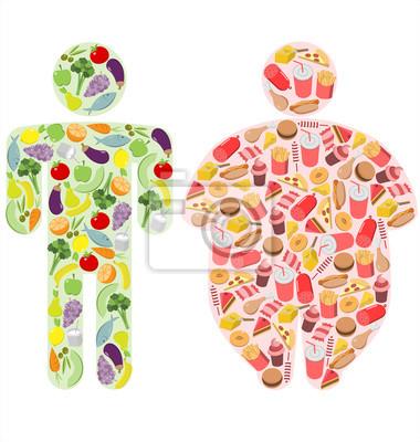 Gesunde Nahrung und fetthaltige Nahrung und menschliche Abbildungen