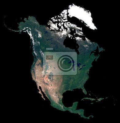 Getrennt auf schwarzer Hintergrundschattenbildkarte von Nordamerika-Kontinent. Satellitenfoto von Nordamerika (Vereinigte Staaten, Kanada, Mexiko Länder). Erde aus dem Weltraum.