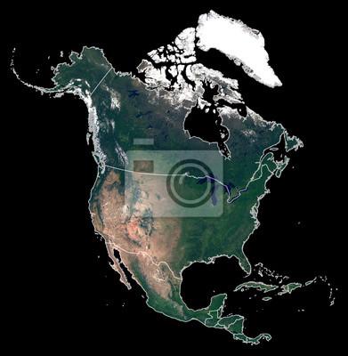 Getrennt auf schwarzer Hintergrundschattenbildkarte von Nordamerika-Kontinent. Satellitenfoto von Nordamerika (Vereinigte Staaten, Kanada, Mexiko Länder) mit Ländergrenzen. Erde aus dem Weltraum.