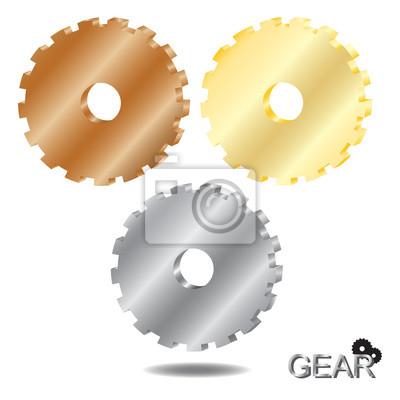 Getriebe 3D, Glänzendes Metall auf einem weißen Hintergrund.