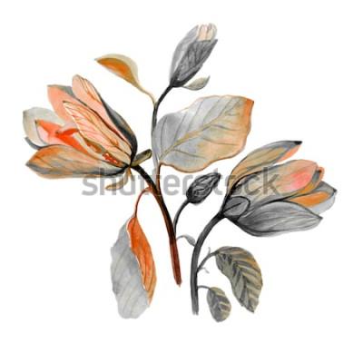 Sticker Gezeichnete schöne Magnolienblume des Aquarells Hand. Zusammensetzung von Herbstgrünblumen. Herbststrauß.