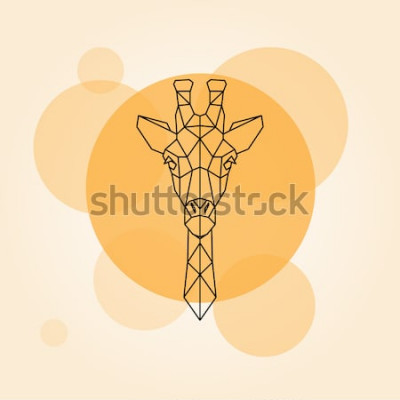 Sticker Giraffenhauptgeometrische Linien Schattenbild lokalisiert auf einem orange Kreis. Vektor-illustration