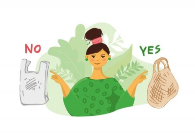 Girl in a green dress points her fingers at a string bag and a plastic bag against a floral background. Banner concept is about green thinking, conscious consumption, zero waste. Vector illustration.