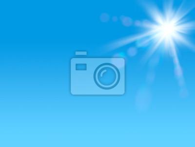 Glänzende Sonne am klaren blauen Himmel mit Kopie Raum