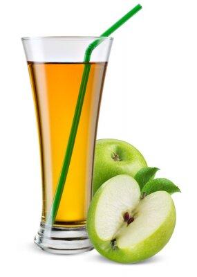 Sticker Glas Apfelsaft mit Früchten isoliert auf weiß.