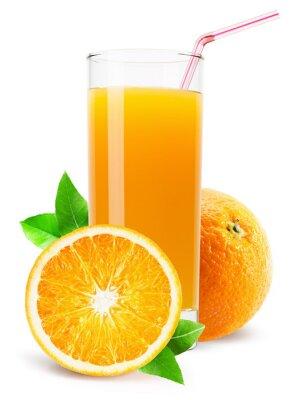 Sticker Glas Orangensaft isoliert auf weißem Hintergrund