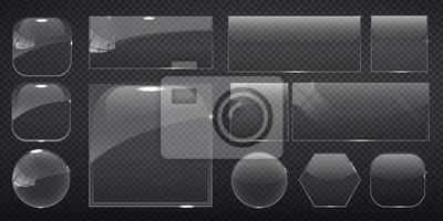 Sticker Glas quadratisch, rechteckig und runde Knöpfe auf kariertem Hintergrund. Abbildung.