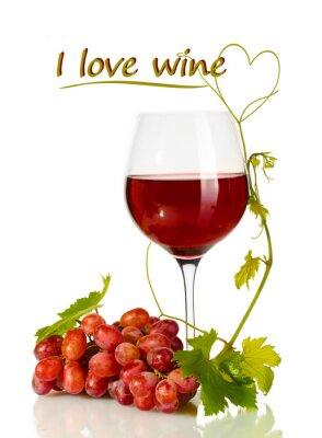 Sticker Glas Wein und reife Trauben mit Ich liebe Wein Text isoliert