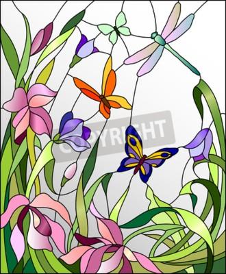 Sticker Glasfenster mit Blumen und Schmetterlingen