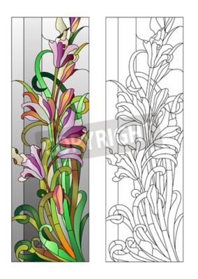 Sticker Glasfenster mit lila Blumenmuster